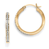 Gold-plated Dia Mystique Round Hinged Hoop Earrings Sterling Silver QDF152