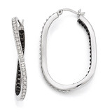 Mystique Twisted Hoop Earring Sterling Silver Black & White Diamond QDF163