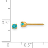 3mm December Crystal Birthstone Post Earrings 14k Gold 104E