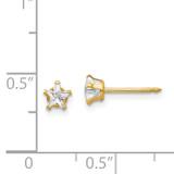 4mm Star Cubic Zirconia Earrings 14k Gold 151E