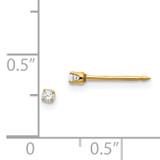 2mm Cubic Zirconia Earrings 14k Gold 23E