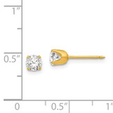 5mm Cubic Zirconia Post Earrings 24k Gold-plated 33E