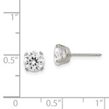7mm Cubic Zirconia Post Earrings Stainless Steel Polished 353E