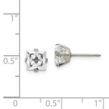 7mm Faceted Square Cubic Zirconia Earrings Stainless Steel Polished 356E