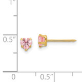 4mm Pink Heart Cubic Zirconia Earrings 14k Gold 471E