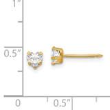 4mm Clear Heart Cubic Zirconia Earrings 14k Gold 472E