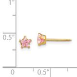4mm Pink Star Cubic Zirconia Earrings 14k Gold 473E