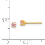 3mm Pink Ice Cubic Zirconia Earrings 14k Gold 65E