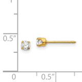 3mm Cubic Zirconia Long Post Earrings 14k Gold 68E
