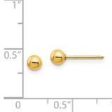 4mm Ball Long Post Earrings 14k Gold 69E