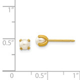 4mm Simulated Pearl Earrings 14k Gold 71E