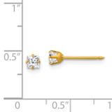 3mm Square Earrings 14k Gold 73E