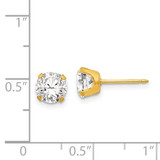 7mm Cubic Zirconia Earrings 24k Gold-plated 761E
