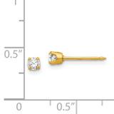 3mm Cubic Zirconia Earrings 14k Gold 7E