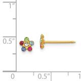 Rainbow Flower withMulti-Crystal Stones Earrings 14k Gold 809E/1