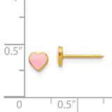 Pink Enamel Heart Earrings 24k Gold-plated 840E/1