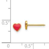 Red Enamel Heart Earrings 24k Gold-plated 840E/2