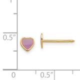 Epoxy Fill Purple Heart Earrings 14k Gold 843E