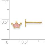 Epoxy Fill Pink Crown Earrings 14k Gold 844E