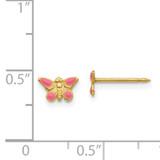 Epoxy Fill Pink Butterfly Earrings 14k Gold 847E