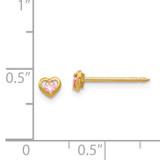 Heart withPink Cubic Zirconia Earrings 14k Gold 849E