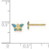 Epoxy Fill Blue Butterfly Earrings 14k Gold 851E