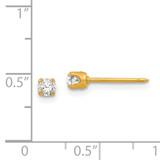 3mm April Crystal Birthstone Post Earrings 14k Gold 96E