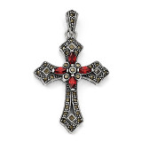 Red Cubic Zirconia & Marcasite Cross Pendant Sterling Silver QC5279