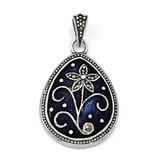 Marcasite Blue Enamel Teardrop Flower Pendant Sterling Silver QC6613