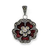 Marcasite Red Enamel Flower Pendant Sterling Silver QC6614