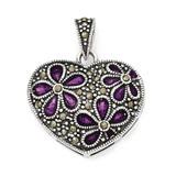 Marcasite Purple Enamel Flower in Heart Pendant Sterling Silver QC6615