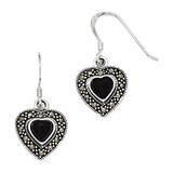 Onyx Heart Marcasite Earrings Sterling Silver QE1437