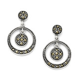 Marcasite Circle Dangle Post Earrings Sterling Silver QE5137