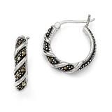 Swirl Hoop Marcasite Earrings Sterling Silver QE985