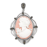 Marcasite Plastic Cameo Pendant Sterling Silver QP1265