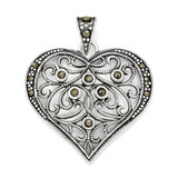 Marcasite Heart Pendant Sterling Silver QP1273