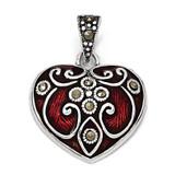 Red Enamel & Marcasite Heart Pendant Sterling Silver QP1292