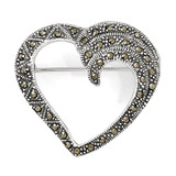 Marcasite Heart Pin Sterling Silver QP332