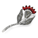Marcasite and Red Cubic Zirconia Flower Pin Sterling Silver QP345