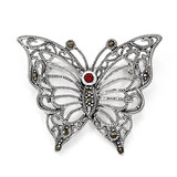 Marcasite Red Cubic Zirconia Butterfly Pin Sterling Silver QP348