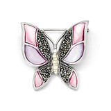 Marcasite Mother of Pearl Butterfly Pin Sterling Silver QP349