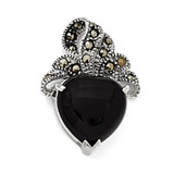 Marcasite and Onyx Heart Pendant Sterling Silver QP587