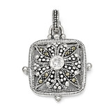 Marcasite and Cubic Zirconia Pendant Sterling Silver QP601