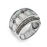 Marcasite & Mother of Pearl Ring Sterling Silver QR1471-6