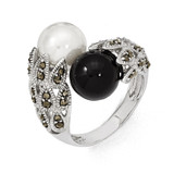 Marcasite Black and White Cultured Pearl Ring Sterling Silver QR2184-6