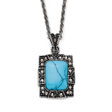 Simulated Turquoise Marcasite Antiqued Necklace Stainless Steel SRN1376-18