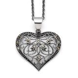Marcasite Textured Heart Necklace Stainless Steel SRN1429-20