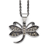Butterfly Marcasite Necklace Stainless Steel SRN1430-18