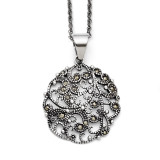 Marcasite Textured Circle Necklace Stainless Steel SRN1432-20