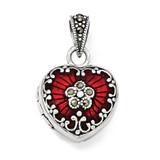 Red Enamel & Marcasite Heart Locket Sterling Silver QP1291